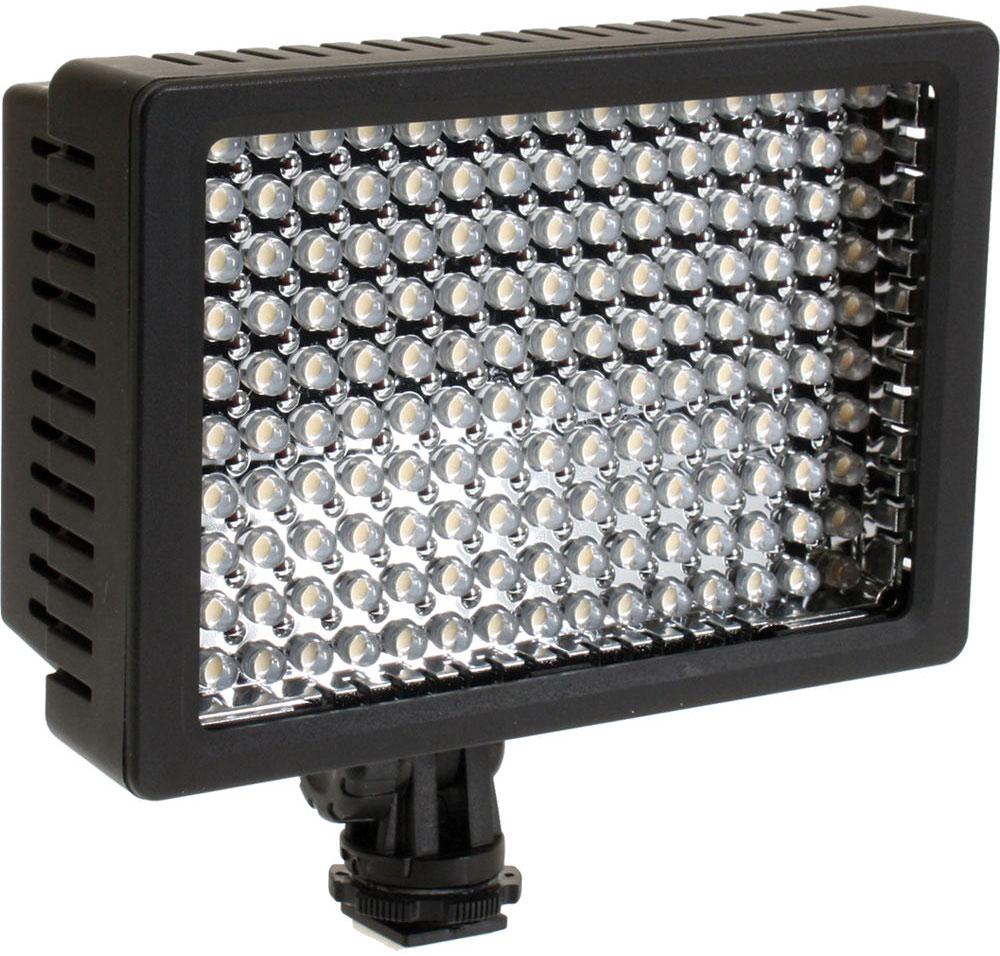 Sunpak VL-LED-160 осветитель светодиодныйVL-LED-160Sunpak VL-LED-160 - источник света на 126 низкотемпературных светодиодах для ровного заливающего света при фото/видео съемке. Данная модель отличается простотой установки, а также продвинутыми характеристиками. Наличие 160 светодиодов поможет достичь максимальной степени освещенности необходимых объектов Крепление: холодный башмак 1,4 x 20 с кольцом фиксации Температура цвета: 5400 К (без фильтра), 3200 К (с фильтром).