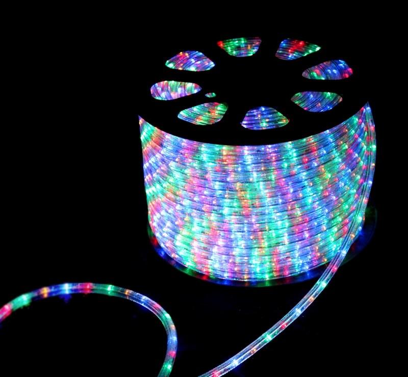 Дюралайт светодиодный, свечение с динамикой, мульти(RGB), 220В, бухта 100м