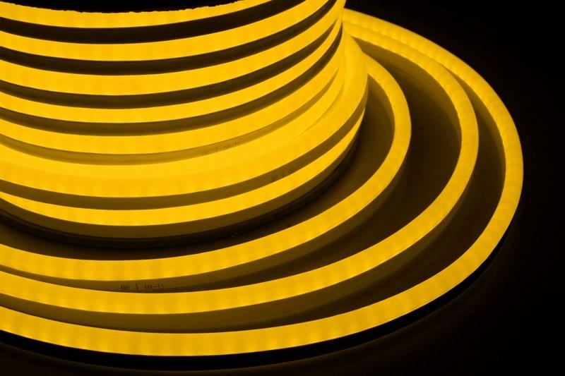 Гибкий неон светодиодный, постоянное свечение, желтый, 24В, бухта 50м