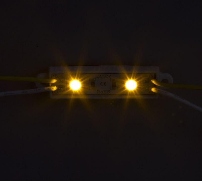 Модуль светодиодный, IP67 влагозащищенный, 2 SMD 5050 LED, ЖЕЛТЫЙ