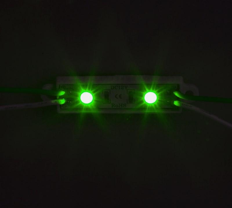 Модуль светодиодный, IP67 влагозащищенный, 2 SMD 5050 LED, ЗЕЛЕНЫЙ141-404Светодиодные модули. При помощи светодиодных модулей изготавливаются объемные буквы, различные световые короба, декоративная подсветка интерьера, фасадное освещение. Наметилась тенденция к замене светодиодными модулями неона во внутренней подсветке больших букв. При их использовании отпадает надобность в установке каждого светодиода по отдельности, поэтому время на монтаж существенно сокращается. Это стало причиной отказа от применения локальных светодиодов в пользу модулей. В нашем каталоге представлены все возможные варианты светодиодных модулей, включающие от 2-х до 6 диодов всех основных цветов. Светодиодный модуль может служить свыше 50 000 часов, а энергии он потребляет почти в 10 раз меньше, чем лампы накаливания. Применение таких приборов ведет к заметной экономии электроэнергии.