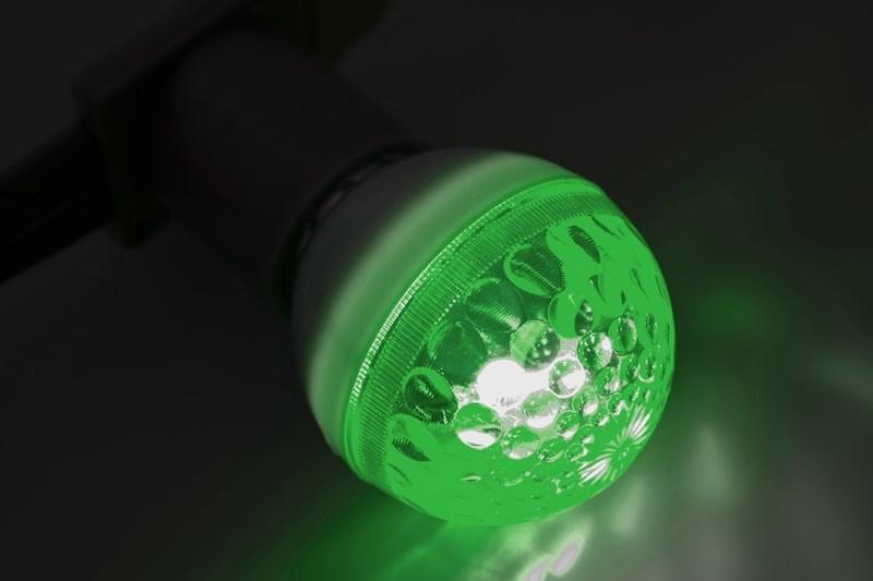 Лампа строб Neon-Night, цоколь Е27, цвет: зеленый, диаметр 50 мм411-124Строб-лампы пользуются большой популярностью в декоративной осветительной рекламе. Яркие вспышки хорошо привлекают внимание, как на больших, так и на малых расстояниях. Стандартный цоколь Е27 позволяет устанавливать лампы буквально за несколько секунд. Строб гораздо сильнее и быстрее привлекает внимание, чем другие источники света и применяют его чаще всего в развлекательных целях. Грамотное использование таких ламп может сделать любую наружную рекламу очень эффектной.