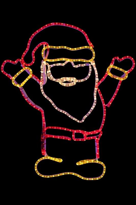 Фигура Neon-Night Дед Мороз Привет!, 83 х 69 см501-318Фигуры из дюралайта. Для изготовления данных фигур используют светодиодный дюралайт и металлический каркас. Этим способом можно создавать световые фигуры любой формы – от снеговиков и снежинок до красочных надписей. Сегодня на рынке более распространенными являются фигуры с применением дюралайта, основанного на лампах накаливания. Но они обладают яркостью, не отвечающей запросам современных дизайнеров, и очень недолговечны. Поэтому своим клиентам мы предлагаем световые изделия высочайшего качества, выполненные на основе отлично себя зарекомендовавших светодиодов. Такая продукция несколько дороже ламповой, но ее отличает высокая надежность, долговечность и низкое энергопотребление. А наиболее впечатляющим достоинством фигур из светодиодного дюралайта является несравнимая с лампами яркость. Сочные, красочные цвета свечения таких LED фигур открывают невообразимые просторы для творчества световым дизайнерам, отвечающим за праздничное настроение. Созданные на основе светодиодного дюралайта