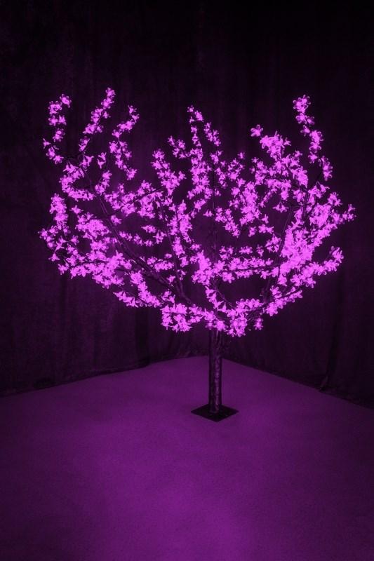 Светодиодное дерево Neon-Night Сакура, цвет: фиолетовый, диаметр кроны 180 см, высота 150 см531-106Световое дерево Сакура светодиодное, диаметр 1,8 м, высота 1,5 м, 864 лепестка