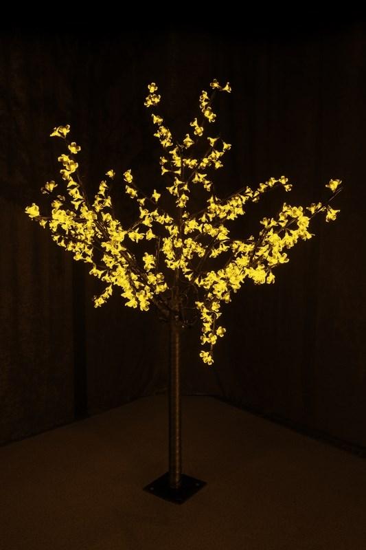 Светодиодное дерево Neon-Night Сакура, цвет: желтый, диаметр кроны 130 см, высота 150 см531-301Светящееся дерево Сакура, 1,5 м, диаметр 1,3м, 480 диодов, цвет желтый, с понижающим трансформатором, 220-24В, 30Вт