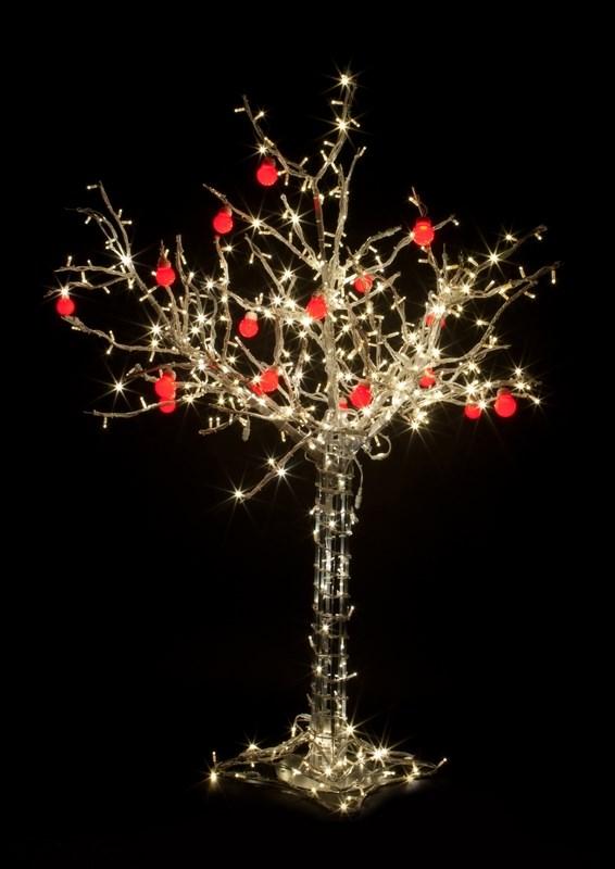 Светодиодное дерево Neon-Night Яблоня, цвет: красный, теплый белый, 150 см531-402Дерево светодиодное Яблоня с 10 красными яблоками, высота 1,5 метра, провода белые, 420 светодиодов тёпло-белого цвета, 24V, с трансформатором.