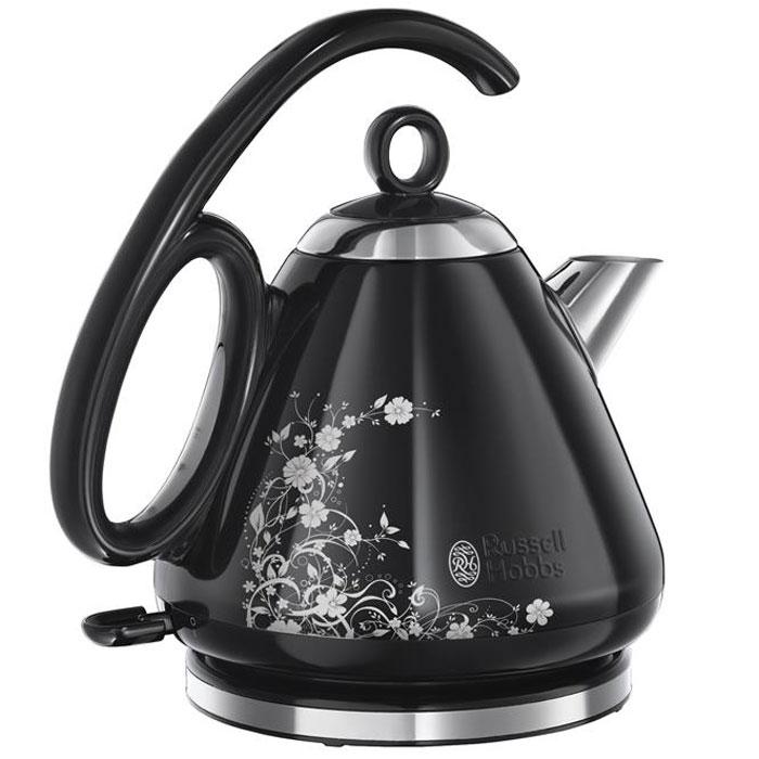 Russell Hobbs 21961-70 Legacy, Black Floral чайник21961-70Благодаря инновационным конструктивным особенностям и стильной черной полированной отделки из нержавеющей стали с изысканным цветочным орнаментом, чайник Russell Hobbs 21961-70 окажется в самом сердце вашей кухни. Модель имеет уникальную форму ручки, которая благодаря эргономичным качествам будет крайне удобной при наполнении водой, переносе или пользовании чайником. Эта уникальная ручка позволяет преодолеть маятниковый эффект, который существует у традиционных чайников. Кроме того, чайник обладает другими интересными особенностями. Он позволяет вскипятить воду на одну чашку всего лишь за 55 секунд, а специальная форма носика гарантирует отсутствие остаточных капель и пролив воды мимо чашки. Вы можете вскипятить воду на 1, 2 или 3 чашки в зависимости от вашей потребности. Это идеальный способ экономии электроэнергии и очень удобно. Специальные метки внутри чайника подскажут до какой отметки нужно долить воду.