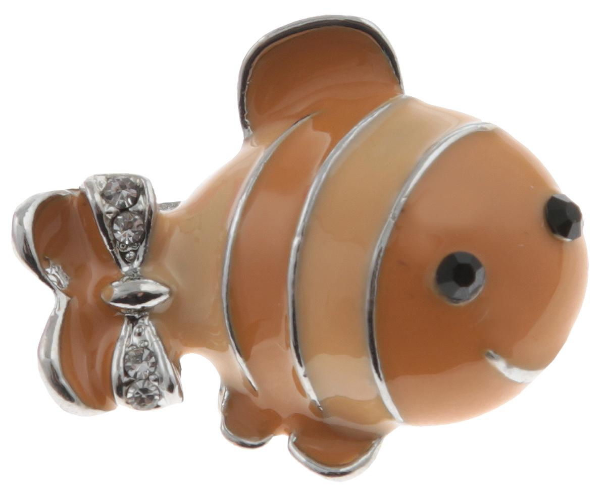 Брошь Рыбка от Arrina. Эмаль песочного цвета, прозрачные стразы, бижутерный сплав серебряного тона. ГонконгОС28529Брошь Рыбка от Arrina. Эмаль песочного цвета, прозрачные стразы, бижутерный сплав серебряного тона. Гонконг. Размер: 2,5 х 1,5 см. Тип крепления - булавка с застежкой.