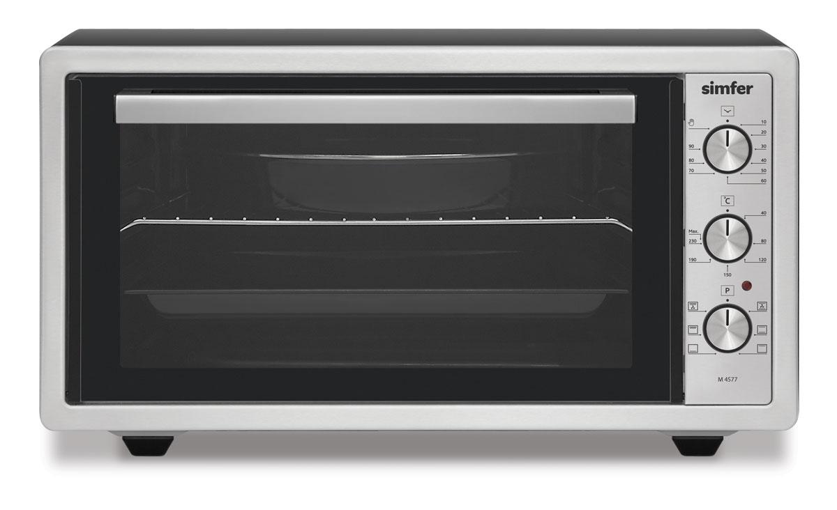 Simfer M4577 духовка электрическаяM4577Simfer M4577 - компактная духовка с внутренним объемом 45 литров. Идеально подходит как для деликатного приготовления пищи, так и для приготовления блюд с хрустящей корочкой. Оснащена пятью режимами нагрева. Легко очищается, комплектуется решеткой для гриля и противнем для выпекания.