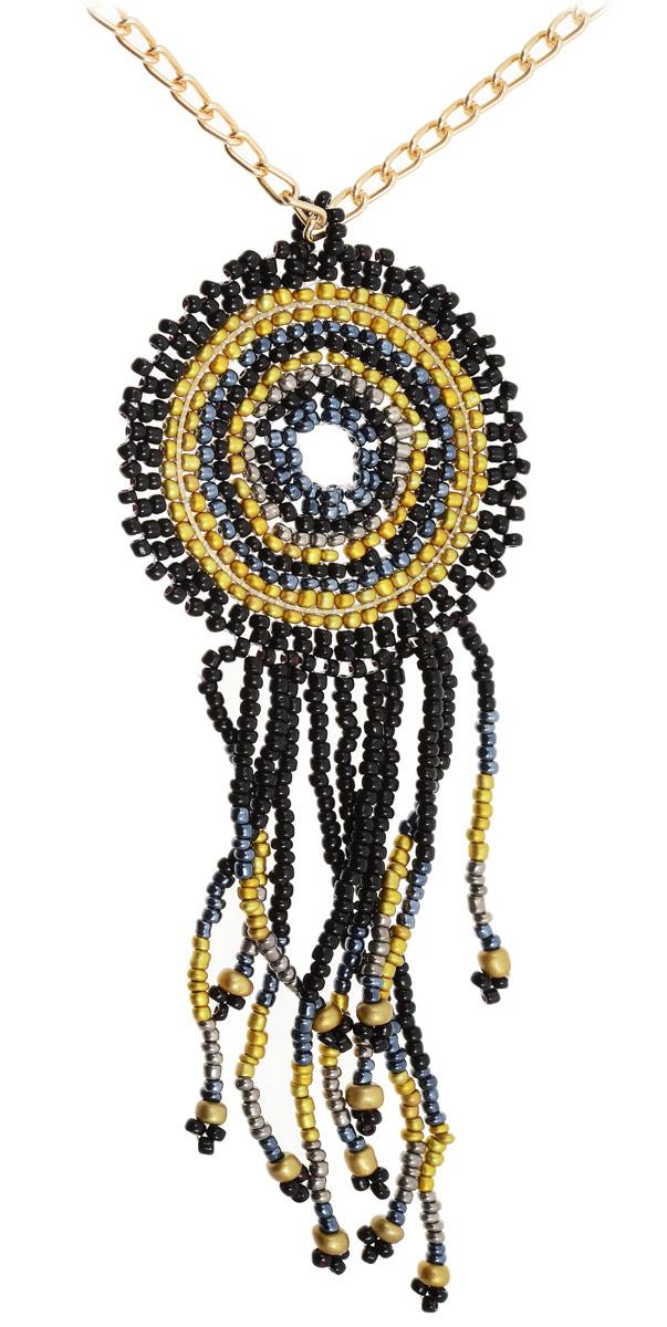 Кулон Vittorio Richi, цвет: золотой, черный. 91358614vr91358614vrКулон Vittorio Richi изготовлен из металла. Изделие представляет собой цепочку с подвеской, украшенной бисером. Застегивается кулон с помощью замка-карабина, а длина регулируется с помощью звеньев.