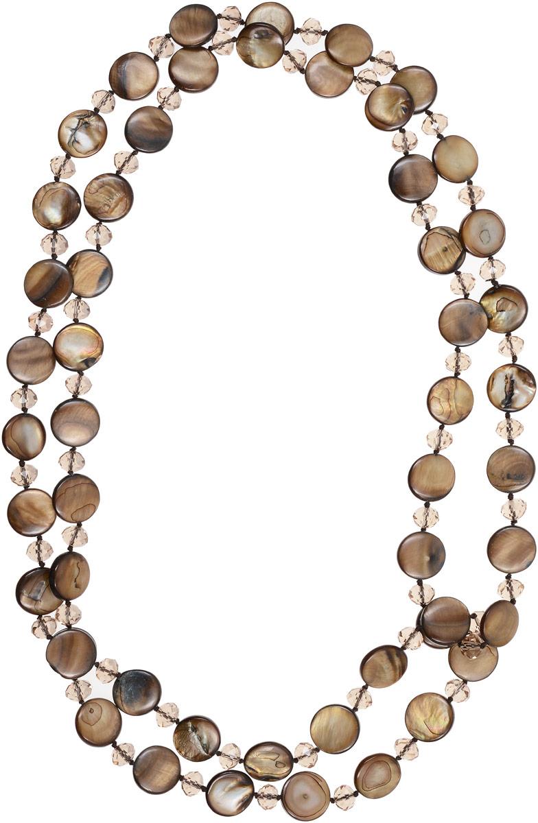 Бусы Vittorio Richi, цвет: коричневый. 91532994vr91532994vrБусы Vittorio Richi выполнены из текстиля. Двойные бусы оформлены бусинами из перламутра и стекла.