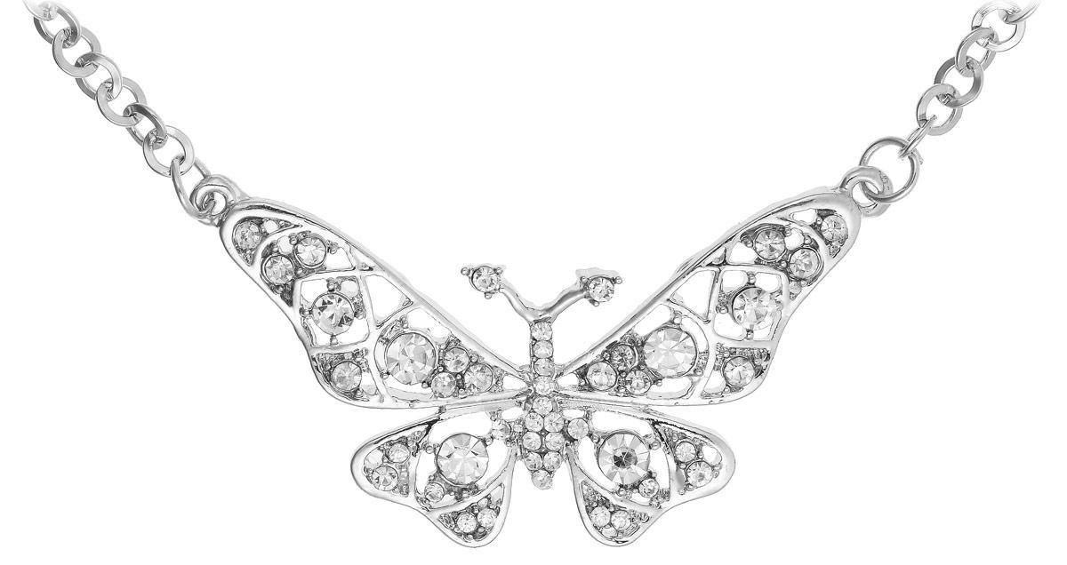 Кулон Vittorio Richi, цвет: серебристый. 91196903vr91196903vrКулон Vittorio Richi изготовлен из металла. Декоративная часть выполнена в виде бабочки, украшенной вставками из страз. Застегивается кулон с помощью замка-карабина, а длина регулируется с помощью звеньев.