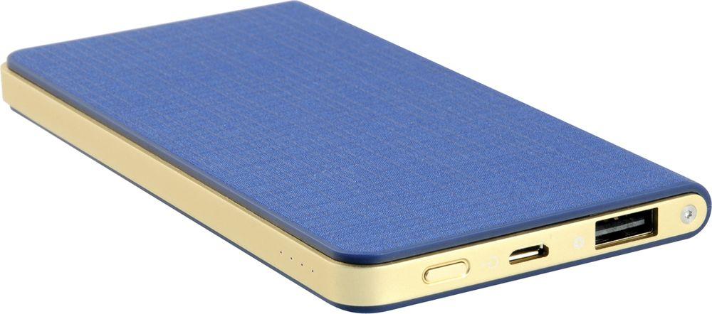 IconBIT FTB5000SLS, Blue Gold внешний аккумуляторMCI54487Сверхтонкий аккумулятор IconBIT FTB5000SLS с USB выходом и LED индикатором заряда. Подойдет для зарядки мобильных устройств с USB входом: планшетных компьютеров, телефонов, смартфонов, а также всех поколений iPad/iPhone/iPod. Заряжается от любого зарядного устройства или компьютера с USB портом. Быстрая зарядка: выход 5В/2A. Зарядка аккумулятора происходит в 2 раза быстрее, чем у аккумуляторов со стандартным входом 5В/1A. Защита от перенапряжения Защита от короткого замыкания Защита от перегрузки по току Защита от перезарядки и переразрядки