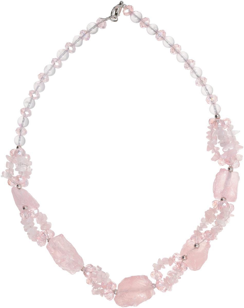 Колье Vittorio Richi, цвет: светло-розовый. 91522738vr91522738vrКолье Vittorio Richi выполнено из натурального камня и стекла. Изделие выполнено в виде бус, оформленных элементами разного размера. Застегивается колье с помощью замка-карабина.