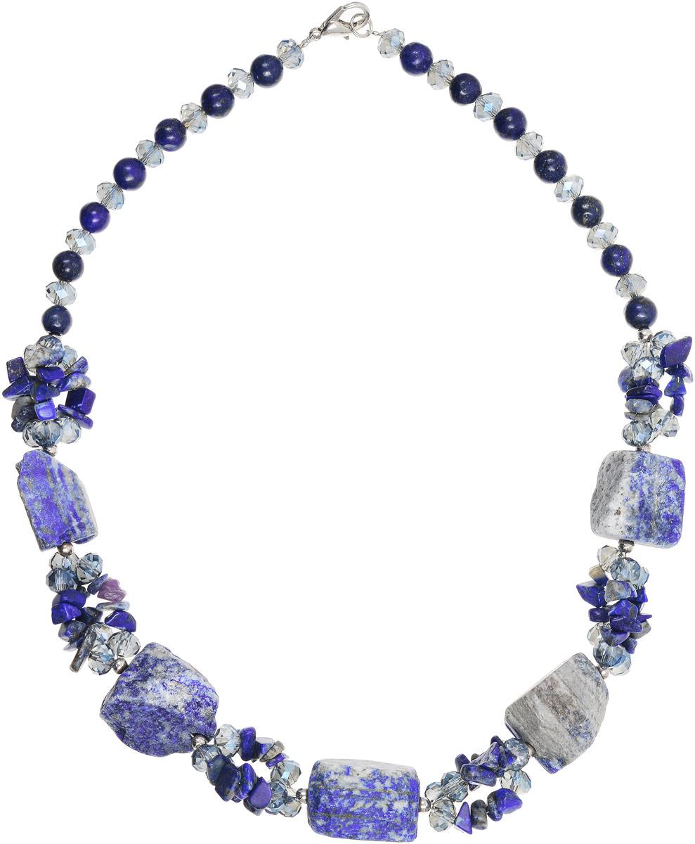 Колье Vittorio Richi, цвет: синий. 91522739vr91522739vrКолье Vittorio Richi изготовлено из металла, стекла и натурального камня. Изделие выполнено в виде бус, оформленных элементами разного размера. Застегивается колье с помощью замка-карабина, а длина регулируется с помощью звеньев.