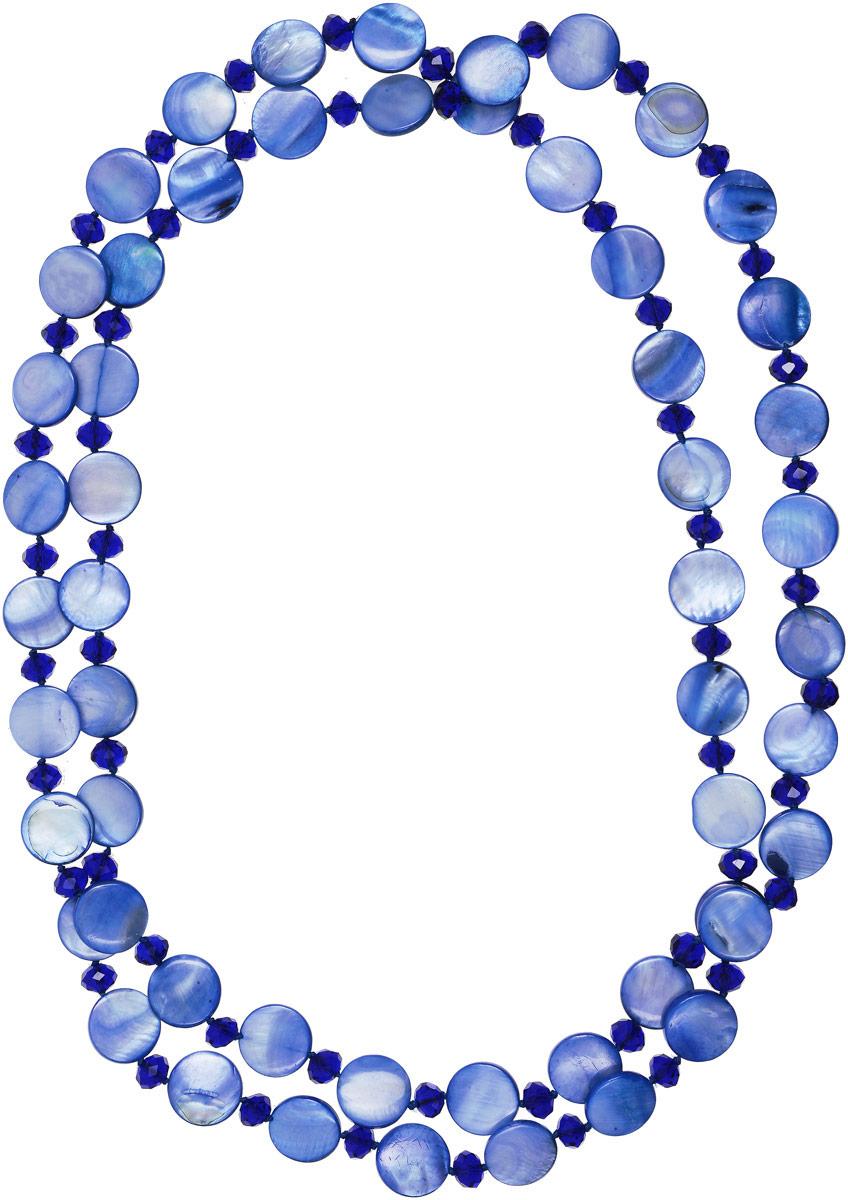 Бусы Vittorio Richi, цвет: синий. 91532989vr91532989vrБусы Vittorio Richi выполнены из перламутра и стекла. Изделие оформлено бусинами разного размера и формы.