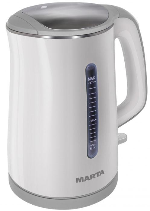 Marta MT-1065, White Grey электрочайникMT-1065Чайник Marta MT-1065 с внутренней колбой из пищевой нержавеющей стали и инновационной конструкцией корпуса. Благодаря двойным стенкам внешний корпус из термостойкого пластика всегда остается холодным, предохраняя от ожогов. Инновационная конструкция чайника обеспечивает высочайшие показатели его энергоэффективности, сохраняя воду горячей в течение длительного времени. Эффект термоса возникает благодаря внутренней колбе из пищевой нержавеющей стали и внешнему корпусу из термостойкого пластика, который, предохраняя от ожогов, всегда остается холодным. Плоское дно внутри чайника очень функционально - легко моется, противостоит накипи, не ржавеет, не коррозирует, а значит, обеспечивает максимально долгий срок службы чайника. Чайник можно снимать и ставить на базу с любой стороны без каких-либо усилий и риска обжечься. Автоматическое отключение при закипании или недостаточном количестве воды обезопасит чайник от преждевременного...