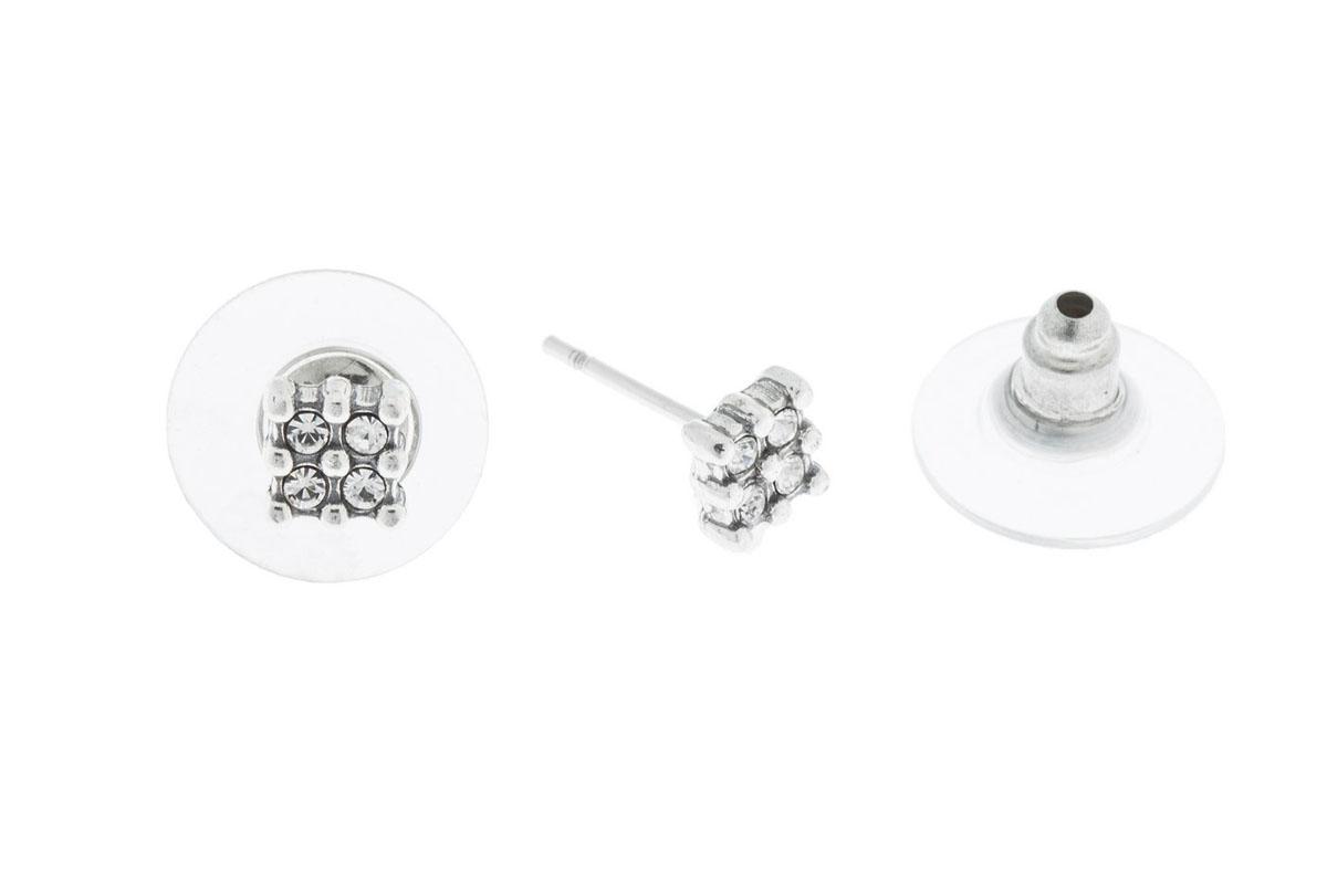 Пуссеты Jenavi Экс, цвет: серебро, белый. K4913800k4913800Коллекция Э, Экс (Пуссеты) гипоаллергенный ювелирный сплав,Черненое серебро, вставка Кристаллы Swarovski