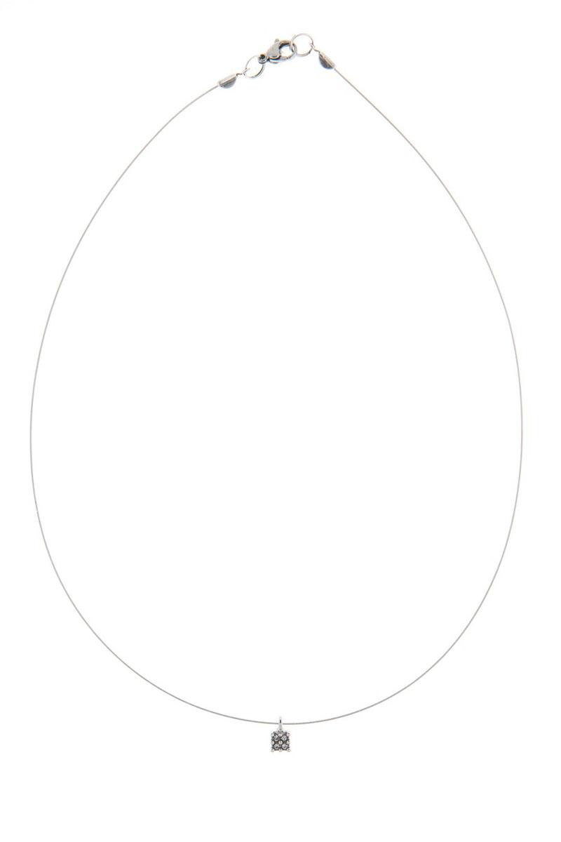 Кулон Jenavi Экс, цвет: серебро, белый. K4913900k4913900Коллекция Э, Экс (Кулон) гипоаллергенный ювелирный сплав,Черненое серебро, вставка Кристаллы Swarovski