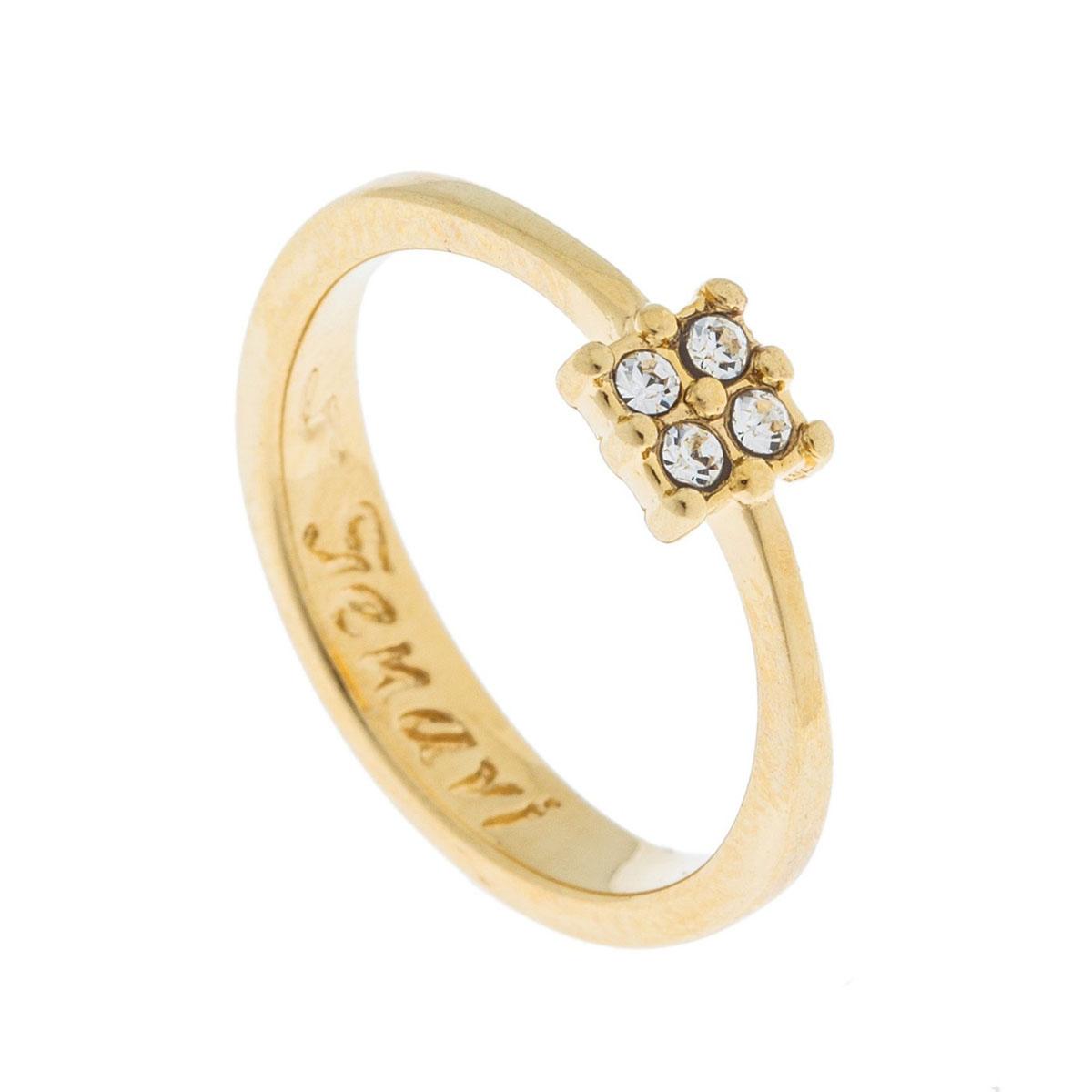 Кольцо Jenavi Экс, цвет: золотой, белый. k491p000. Размер 17k491p000Коллекция Э, Экс (Кольцо) гипоаллергенный ювелирный сплав,Позолота, вставка Кристаллы Swarovski