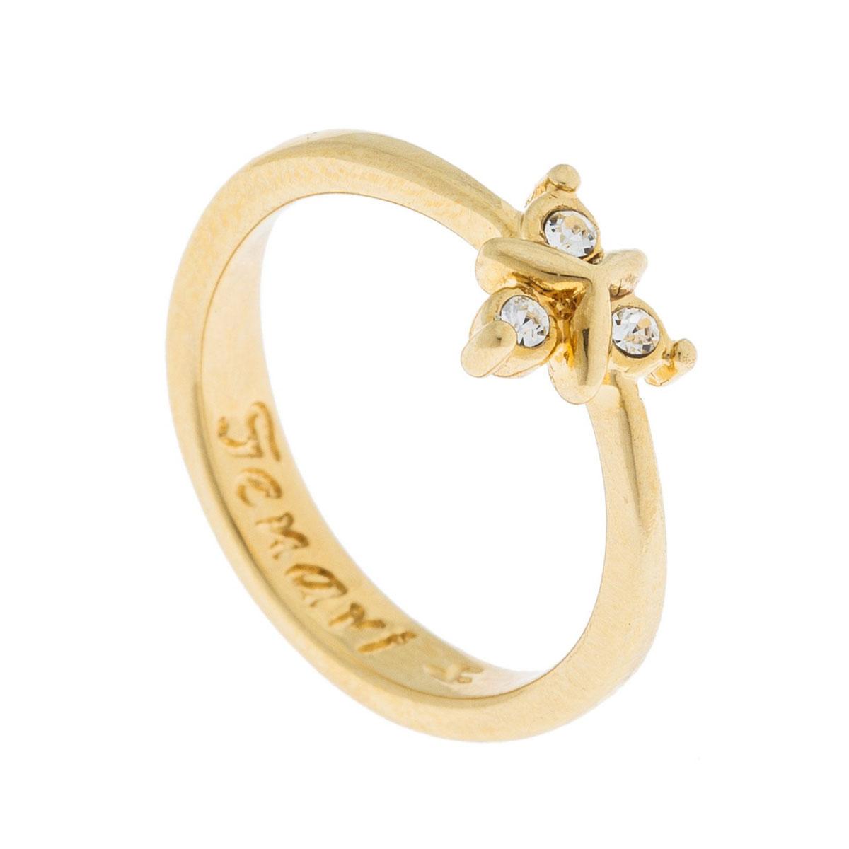 Кольцо Jenavi Эюя, цвет: золотой, белый. k493p000. Размер 16k493p000Коллекция Э, Эюя (Кольцо) гипоаллергенный ювелирный сплав,Позолота, вставка Кристаллы Swarovski