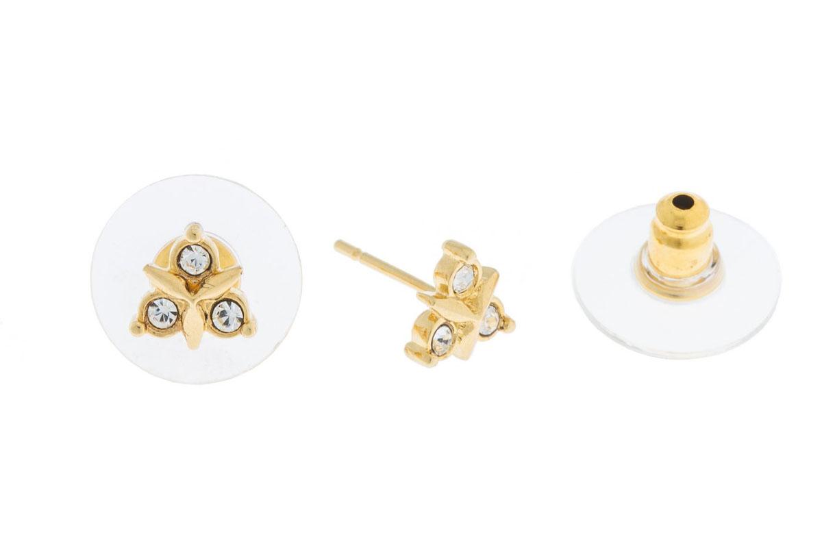 Пуссеты Jenavi Эюя, цвет: золотой, белый. K493p800k493p800Коллекция Э, Эюя (Пуссеты) гипоаллергенный ювелирный сплав,Позолота, вставка Кристаллы Swarovski