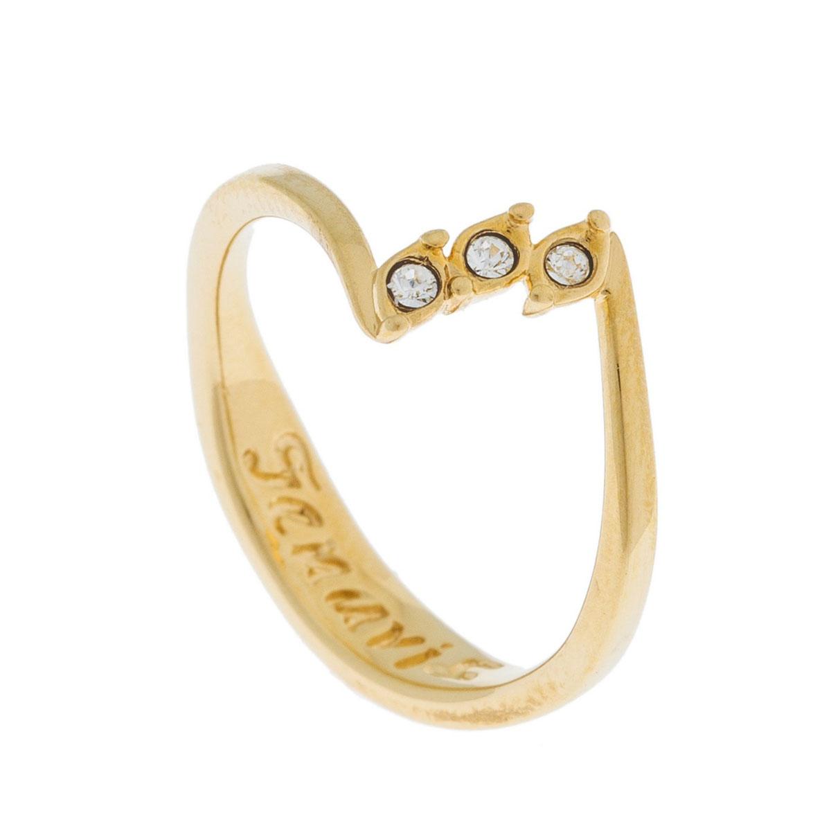 Кольцо Jenavi Эя, цвет: золотой, белый. k495p000. Размер 17k495p000Коллекция Э, Эя (Кольцо) гипоаллергенный ювелирный сплав,Позолота, вставка Кристаллы Swarovski