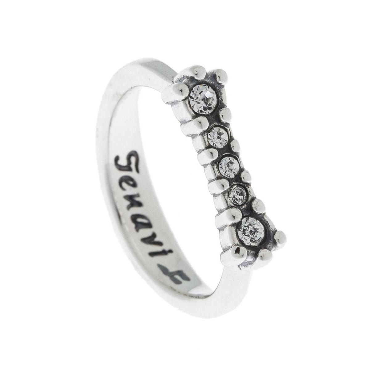 Кольцо Jenavi Эми, цвет: серебро, белый. k4973000. Размер 17k4973000Коллекция Э, Эми (Кольцо) гипоаллергенный ювелирный сплав,Черненое серебро, вставка Кристаллы Swarovski