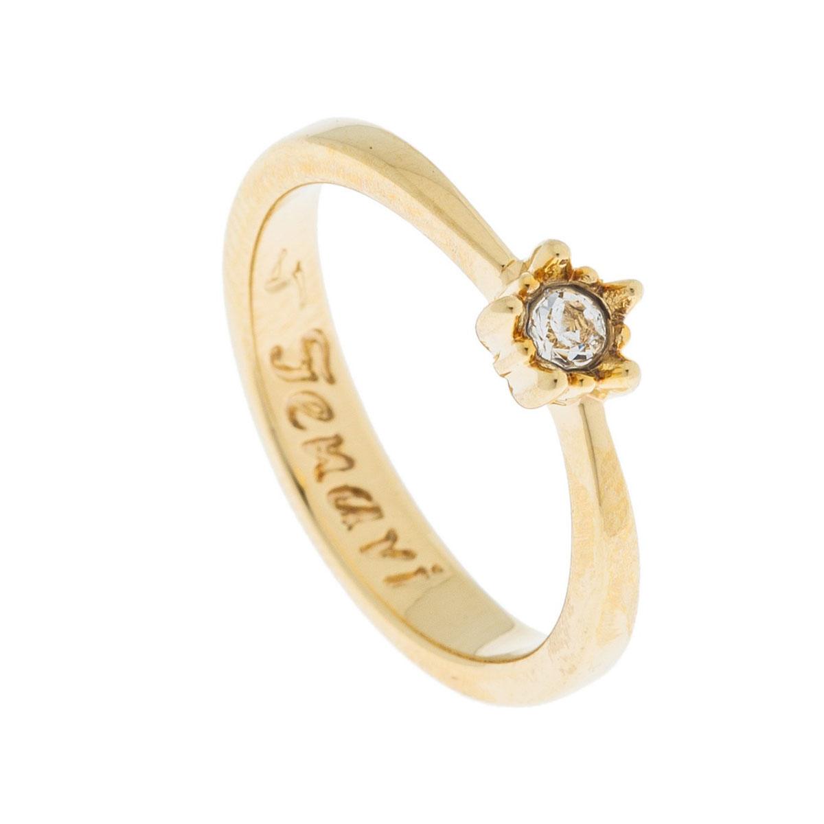 Кольцо Jenavi Эва, цвет: золотой, белый. k498p000. Размер 17k498p000Коллекция Э, Эва (Кольцо) гипоаллергенный ювелирный сплав,Позолота, вставка Кристаллы Swarovski