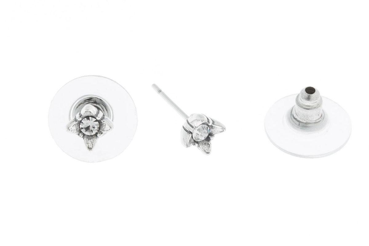 Пуссеты Jenavi Эси, цвет: серебро, белый. K4993800k4993800Коллекция Э, Эси (Пуссеты) гипоаллергенный ювелирный сплав,Черненое серебро, вставка Кристаллы Swarovski