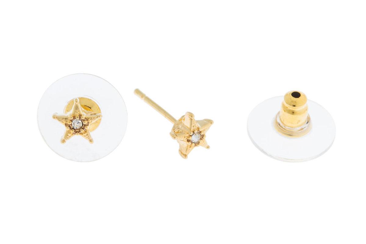 Пуссеты Jenavi Энта, цвет: золотой, белый. K500p800k500p800Коллекция Э, Энта (Пуссеты) гипоаллергенный ювелирный сплав,Позолота, вставка Кристаллы Swarovski