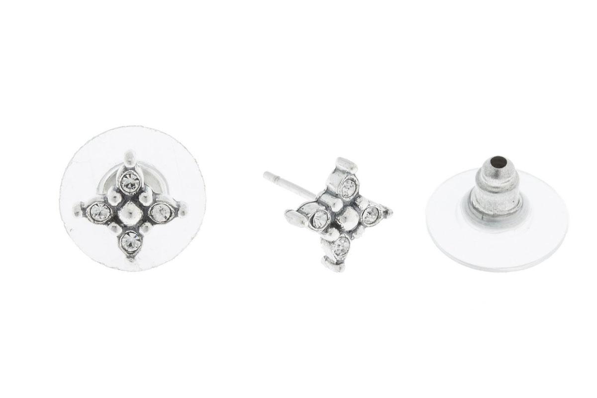 Пуссеты Jenavi Эги, цвет: серебро, белый. K5013800k5013800Коллекция Э, Эги (Пуссеты) гипоаллергенный ювелирный сплав,Черненое серебро, вставка Кристаллы Swarovski