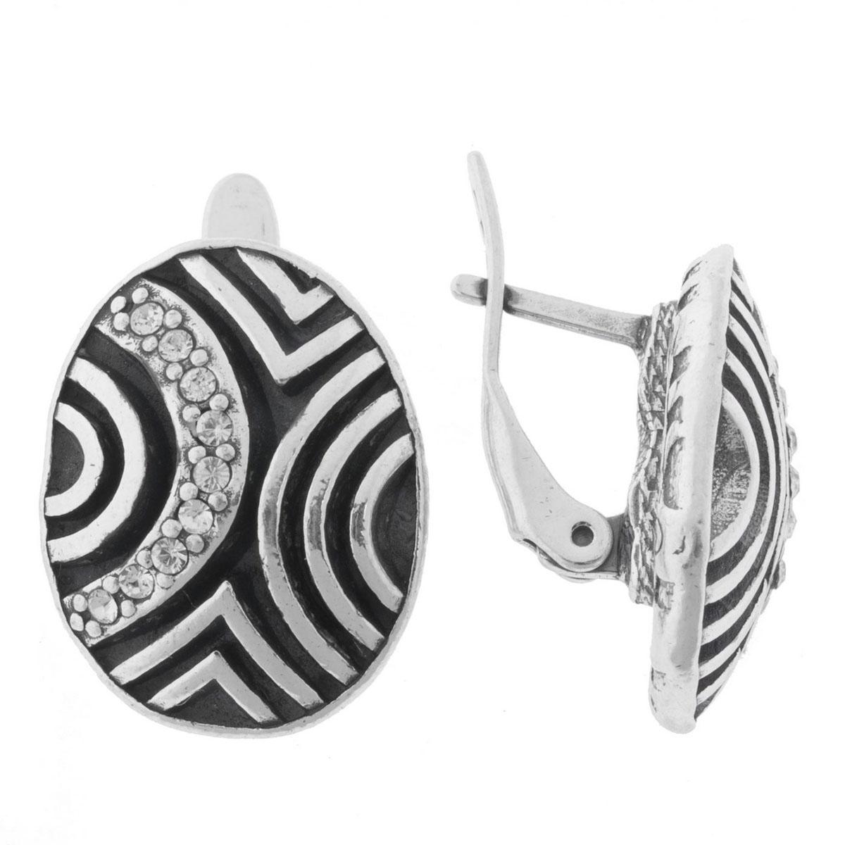 Серьги Jenavi Лэрна, цвет: серебро, белый. K5183100k5183100Коллекция Jetta, Лэрна (Серьги) гипоаллергенный ювелирный сплав,Черненое серебро, вставка Кристаллы Swarovski