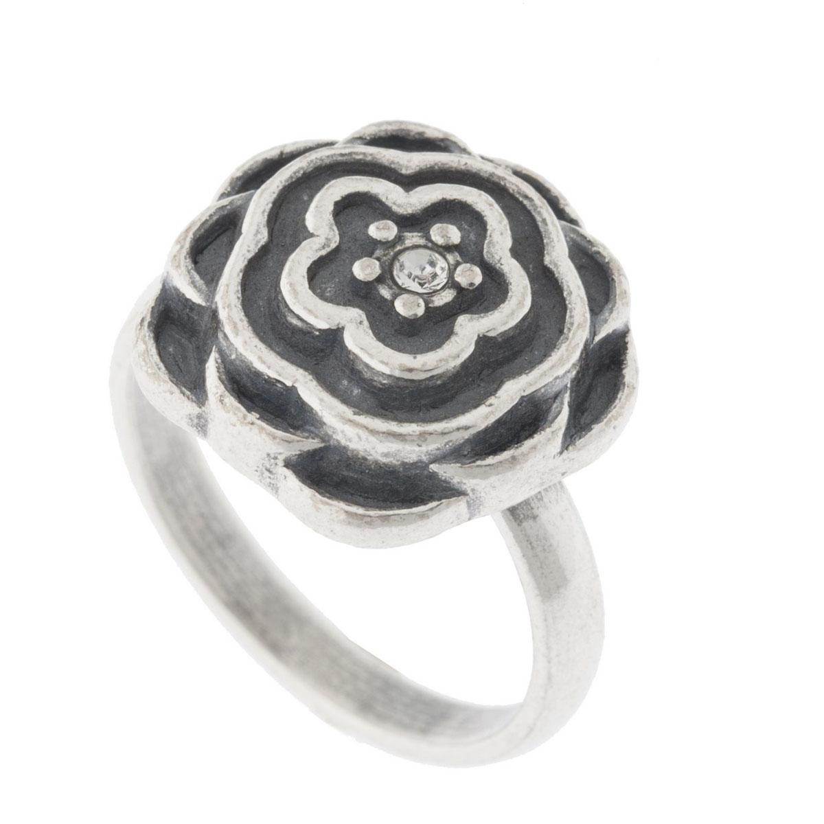 Кольцо Jenavi Рэта, цвет: серебро, белый. K5273000. Размер 18k5273000Коллекция Jetta, Рэта (Кольцо) гипоаллергенный ювелирный сплав,Черненое серебро, вставка Кристаллы Swarovski