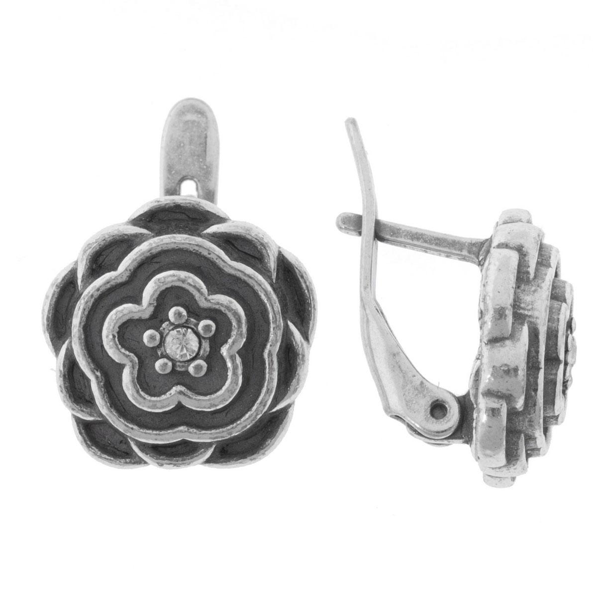 Серьги Jenavi Рэта, цвет: серебро, белый. K5273100k5273100Коллекция Jetta, Рэта (Серьги) гипоаллергенный ювелирный сплав,Черненое серебро, вставка Кристаллы Swarovski