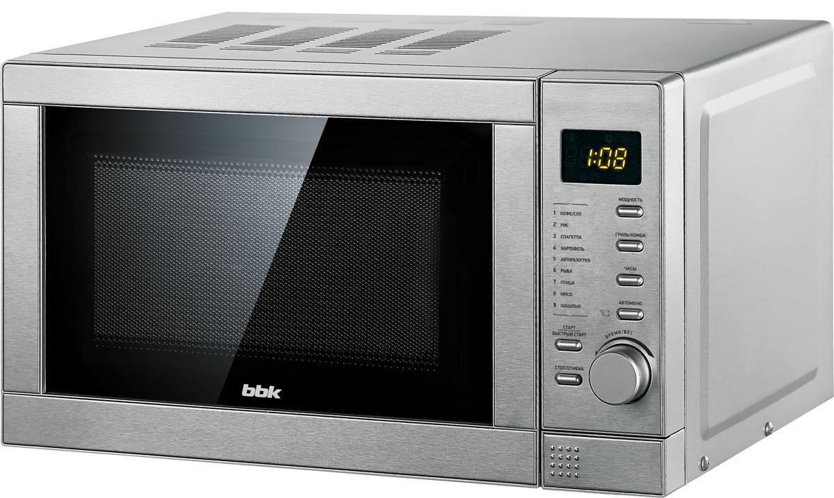 BBK 20MWG-737T/S, Silver СВЧ-печь20MWG-737T/S/RUСовременную домашнюю лабораторию по приготовлению еды трудно представить без микроволновой печи, а модель BBK 20MWG-737T/S, благодаря широкому спектру возможностей, по праву займет почетное место на кухне любой хозяйки. Компактная микроволновая печь оснащена надежным тактовым управлением и LED-дисплеем, имеет 5 уровней регулировки мощности, а программа разморозки и автоматические программы приготовления блюд предусмотрены для различных значений веса продукта. К перечисленным достоинствам остается добавить функцию гриля, которая позволит мгновенно обжарить любимое блюдо до хрустящей золотистой корочки. Диаметр поворотного стола: 245 мм