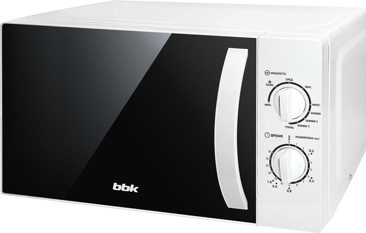 BBK 20MWG-738M/W, White СВЧ-печь20MWG-738M/W/RUМикроволновая печь BBK 20MWG-738M/W компактна, удобна в эксплуатации и долговечна. Мощность микроволн составляет 700 Вт и регулируется до 5 уровней. Объем камеры оптимальный для небольшой семьи – 20 литров. Помимо основных операций по разогреву и разморозке блюд существует дополнительная функция гриля. Диаметр поворотного стола: 255 мм