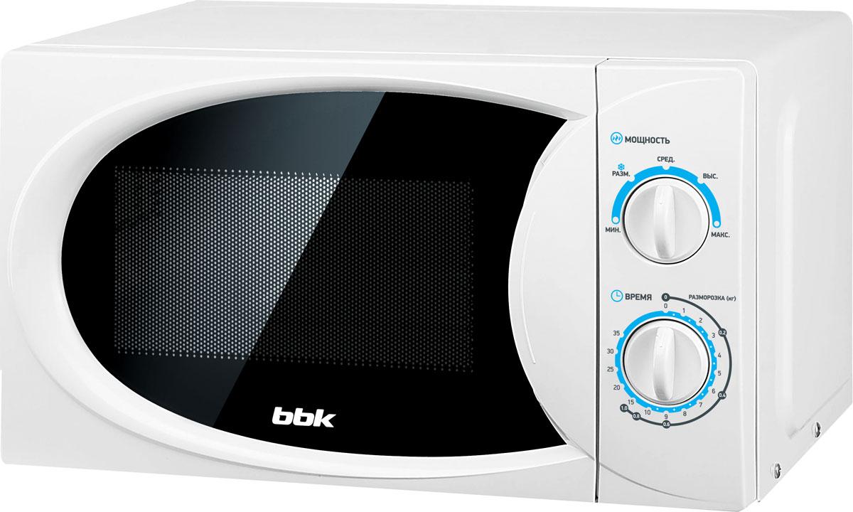 BBK 20MWS-710M/W, White СВЧ-печь20MWS-710M/W/RUМикроволновая печь BBK 20MWS-710M/W компактна и имеет минимальный функционал, но она отменно справится с основными задачами – подогревом и разморозкой продуктов. Модель надежна и проста в управлении. Мощность микроволн составляет 700 Вт, при этом предусмотрены 5 уровней регулировки. Освещаемая камера объемом 20 литров оптимальна для небольшой семьи. Диаметр поворотного стола: 255 мм