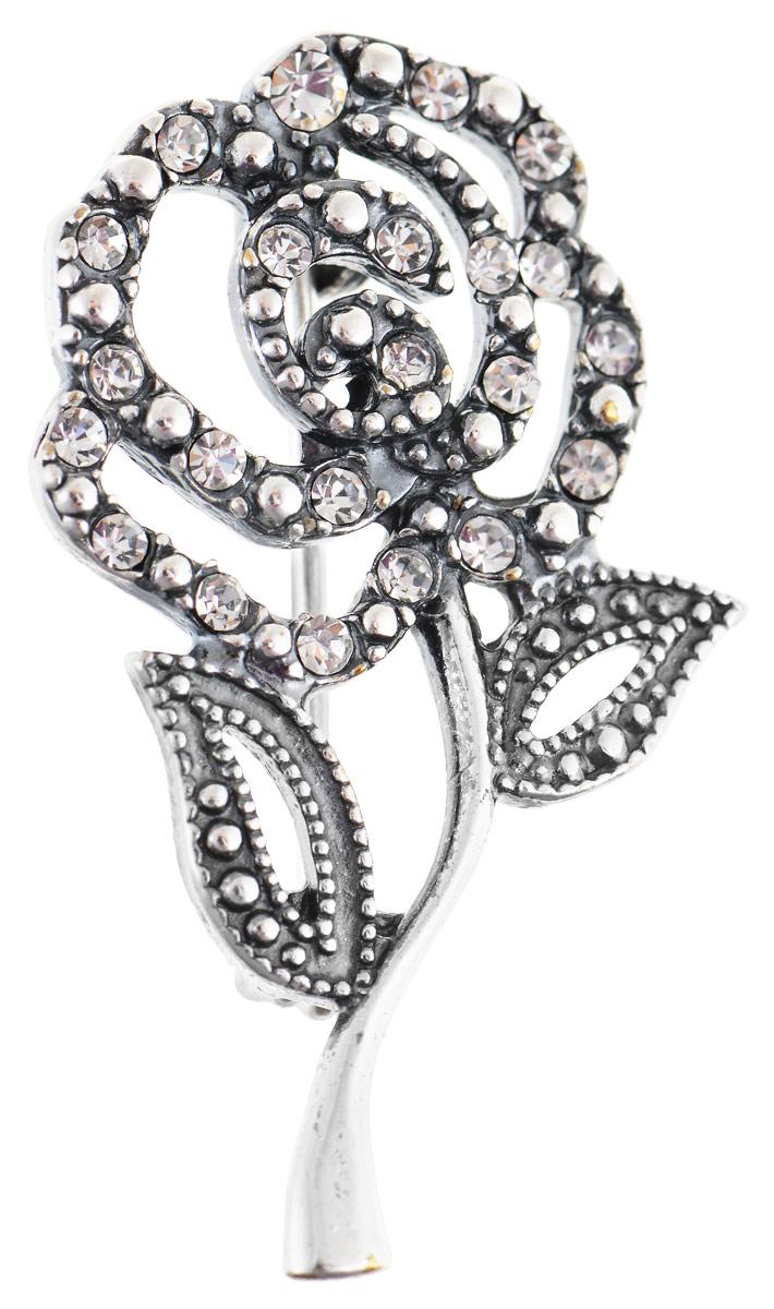 Брошь Vittorio Richi, цвет: серебристый. 91557713vr91557713vrБрошь Vittorio Richi изготовлена из металла с гальваническим покрытием из серебра. Декоративный элемент выполнен в виде розы, украшенной стразами. Изделие застегивается с помощью замка-булавки.