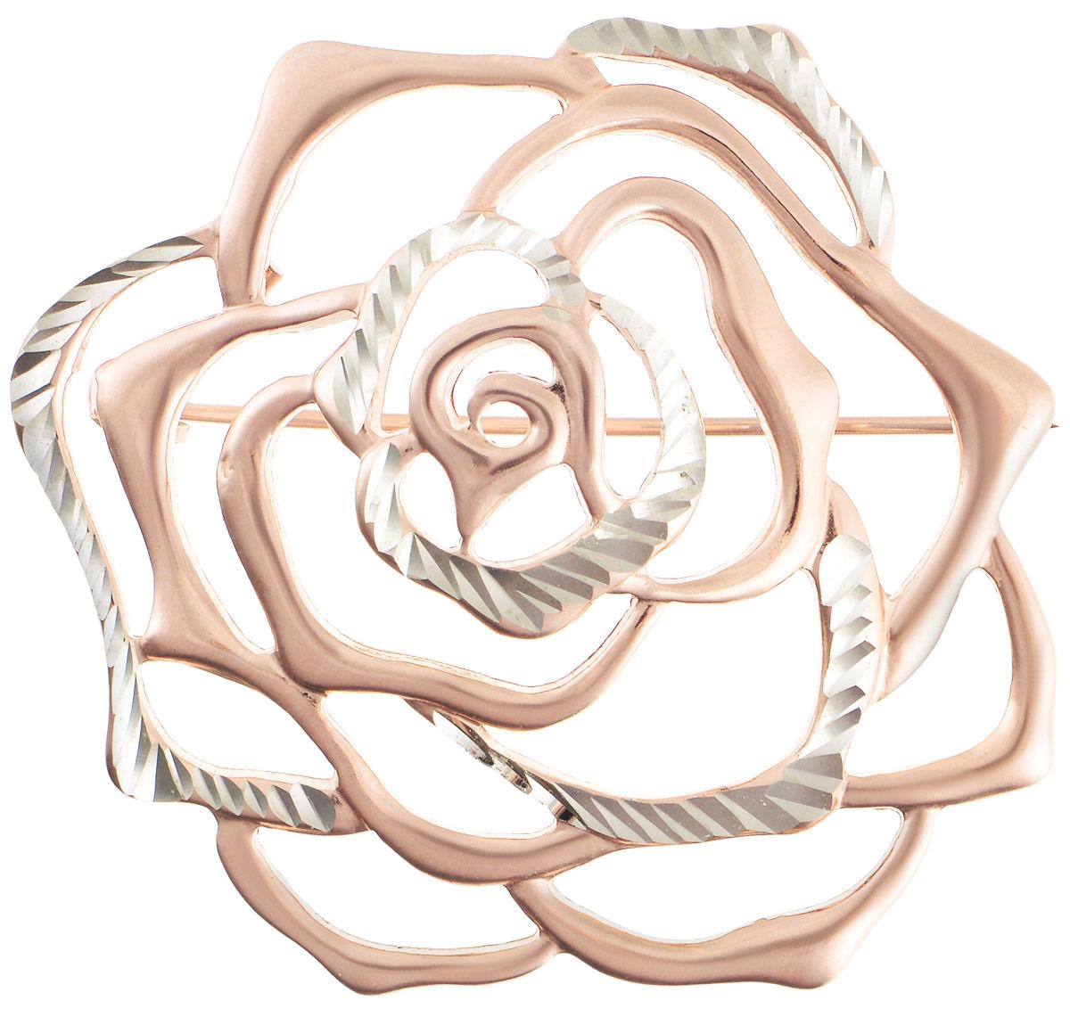 Брошь Vittorio Richi, цвет: золотистый. 91557686vr91557686vrБрошь Vittorio Richi изготовлена из металла с гальваническим покрытием из золота. Декоративный элемент выполнен в виде розы. Изделие застегивается с помощью замка-булавки.