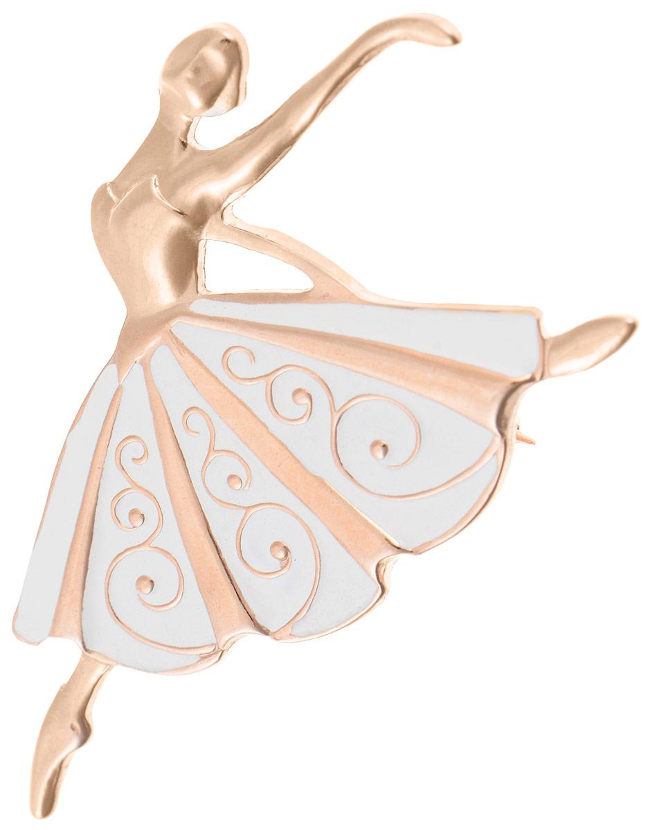 Брошь Vittorio Richi, цвет: золотистый, белый. 91558225vr91558225vrБрошь Vittorio Richi изготовлена из металла с гальваническим покрытием из золота. Декоративный элемент выполнен в виде балерины, оформленной вставкой из эмали. Изделие застегивается с помощью замка-булавки.