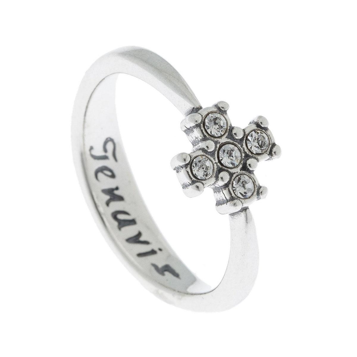 Кольцо Jenavi Эза, цвет: серебро, белый. k5023000. Размер 16k5023000Коллекция Э, Эза (Кольцо) гипоаллергенный ювелирный сплав,Черненое серебро, вставка Кристаллы Swarovski