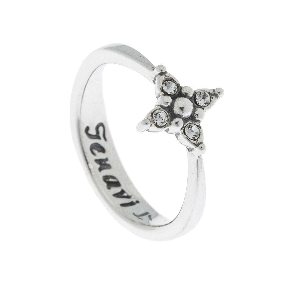 Кольцо Jenavi Эги, цвет: серебро, белый. k5013000. Размер 16k5013000Коллекция Э, Эги (Кольцо) гипоаллергенный ювелирный сплав,Черненое серебро, вставка Кристаллы Swarovski