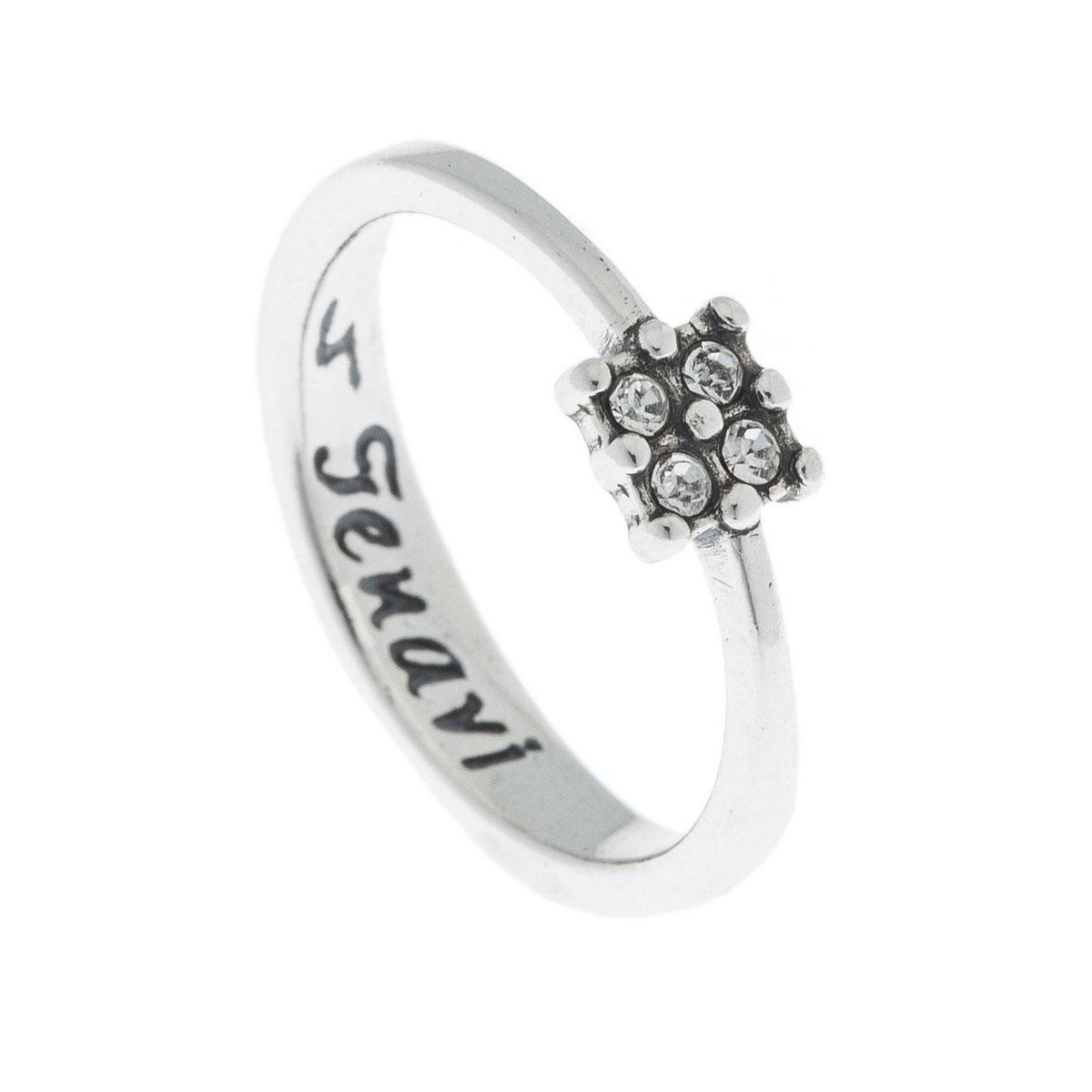 Кольцо Jenavi Экс, цвет: серебро, белый. k4913000. Размер 16k4913000Коллекция Э, Экс (Кольцо) гипоаллергенный ювелирный сплав,Черненое серебро, вставка Кристаллы Swarovski