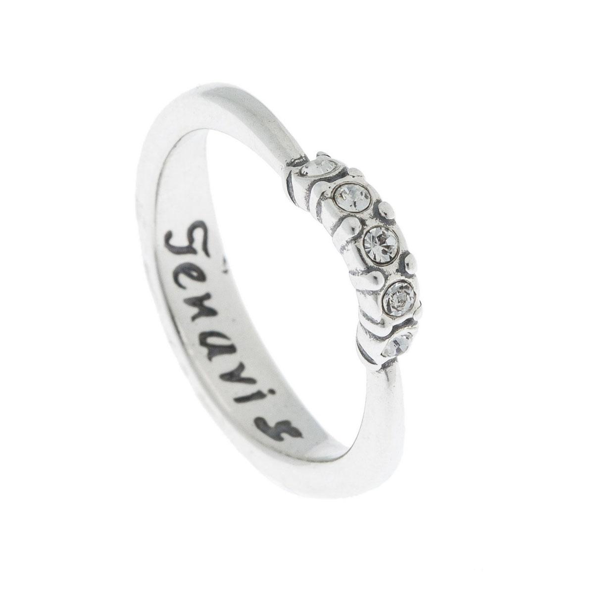 Кольцо Jenavi Эдра, цвет: серебро, белый. k4903000. Размер 16k4903000Коллекция Э, Эдра (Кольцо) гипоаллергенный ювелирный сплав,Черненое серебро, вставка Кристаллы Swarovski