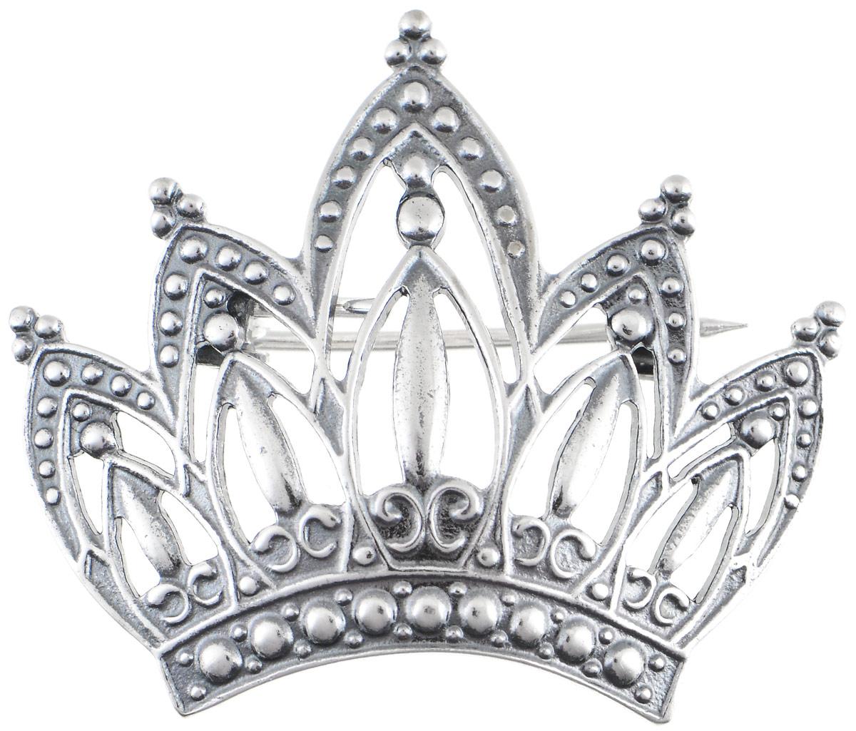Брошь Vittorio Richi, цвет: серебристый. 91557697vr91557697vrБрошь Vittorio Richi выполнена из металла с гальваническим покрытием из серебра. Декоративный элемент выполнен в виде короны. Изделие застегивается с помощью замка- булавки.