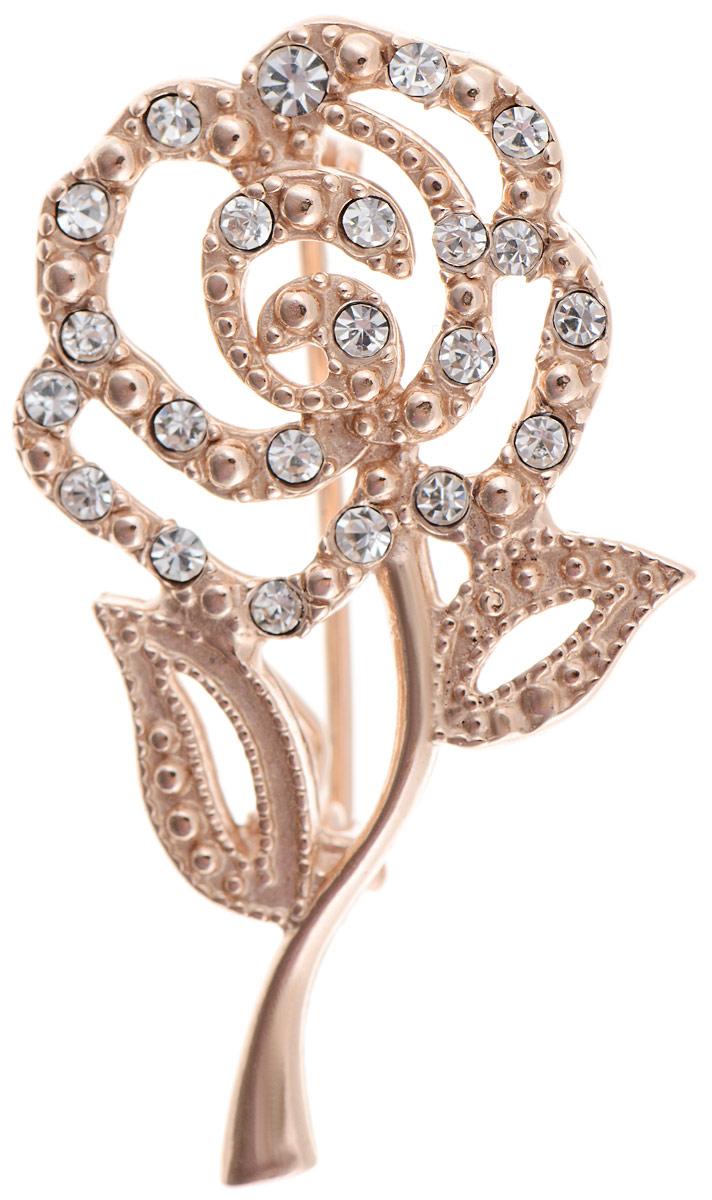 Брошь Vittorio Richi, цвет: золотистый. 91558230vr91558230vrБрошь Vittorio Richi изготовлена из металла с гальваническим покрытием из золота. Декоративный элемент выполнен в виде розы, оформленной вставками из страз. Изделие застегивается с помощью замка-булавки.