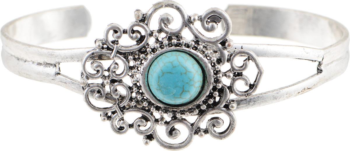 Браслет Vittorio Richi, цвет: серебристый, бирюзовый. 91357779vr91357779vrБраслет Vittorio Richi изготовлен из металла. Декоративный элемент оформлен вставкой из бирюзы.
