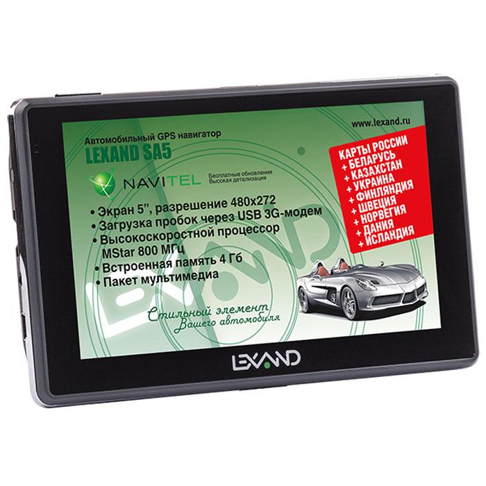Lexand SA5, Black навигаторSA5 5Lexand SA5 - классический GPS навигатор на Windows СЕ 6.0 с сенсорным 5-ти дюймовым экраном, мощным процессором MStar MSB2531 (800 МГц) и расширенной картографией Навител (9 стран) с бессрочной лицензией и бесплатным обновлением. Предусмотрена возможность подключения внешних 3G USB модемов построения маршрутов с учетом пробок. Все модели серии SA5 могут выходить в Интернет для браузинга. загрузки данных о пробках и работы со встроенными в навигационные программы онлайновыми сервисами с помощью внешнего ЗС-модема, подключенного через USB-хост. Сегодня это особенно актуально, учитывая, что различные возможности, связанные с Интернетом, есть в абсолютном большинстве навигационных пакетов. Режим Hands-Free USB-хост Емкость аккумулятора: 1100 мАч