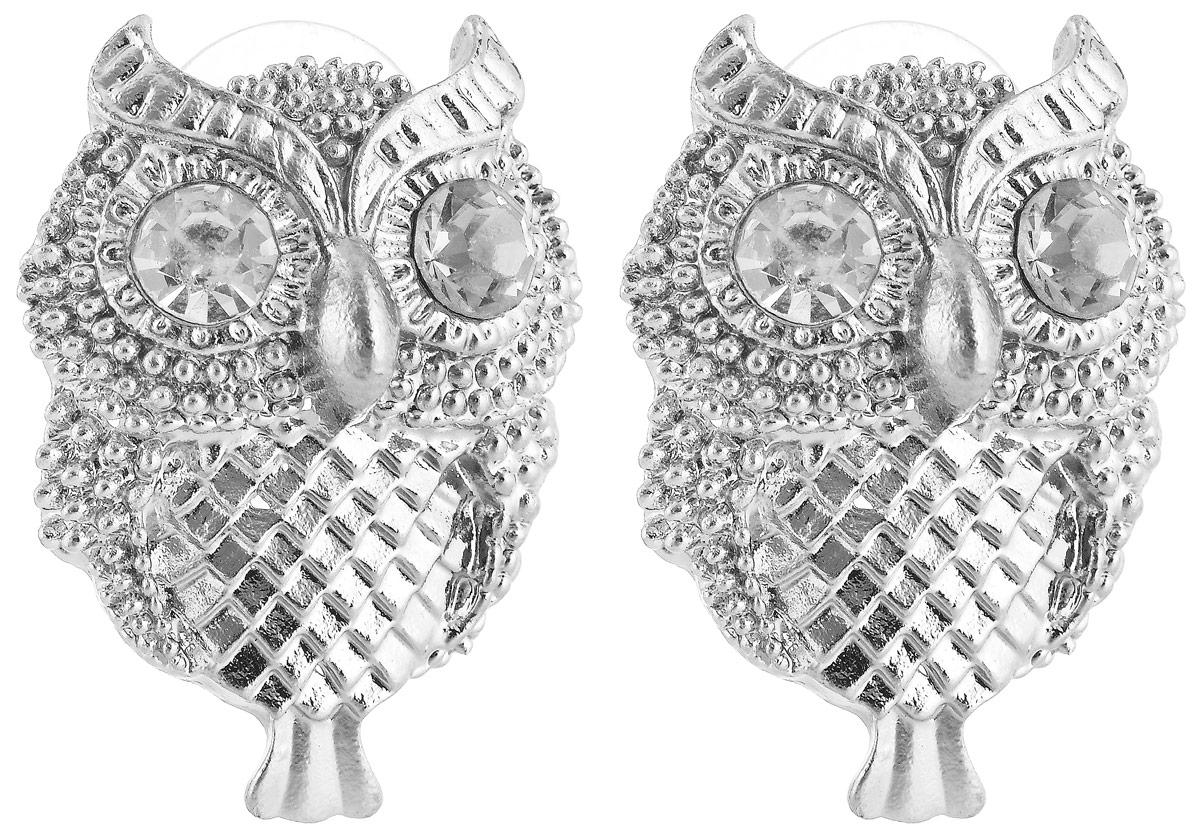 Серьги Vittorio Richi, цвет: серебристый. 9864240vr9864240vrСерьги Vittorio Richi выполнены из металла. Декоративный элемент выполнен в виде совы и оформлен вставками из искусственных камней. Изделие застегивается с помощью замка-гвоздика с заглушкой.
